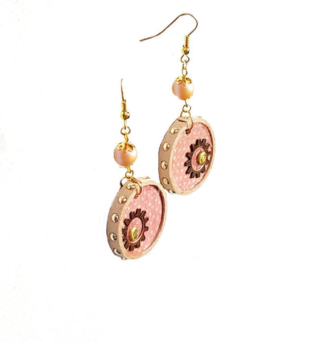 Earrings - Circle Pink Gear - Earrings - 1