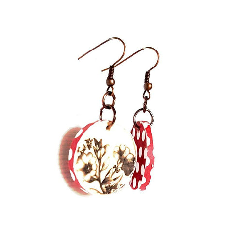 Earrings - Retro Vintage Polka Dot Floral Earrings | MysticTrinketShop.com - Earrings - 1