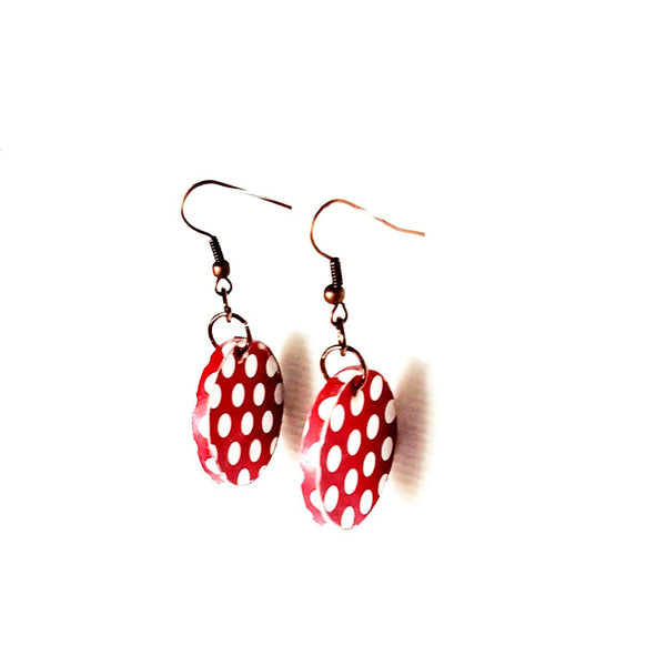 Earrings - Retro Vintage Polka Dot Floral Earrings | MysticTrinketShop.com - Earrings - 2