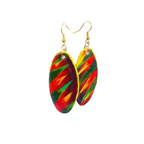 Fierce Oval Multicolored Dangle Earrings - Earrings - 1