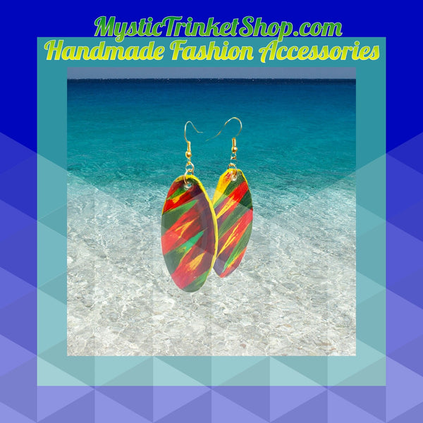 Earrings - Fierce Oval Multicolored Dangle Earrings