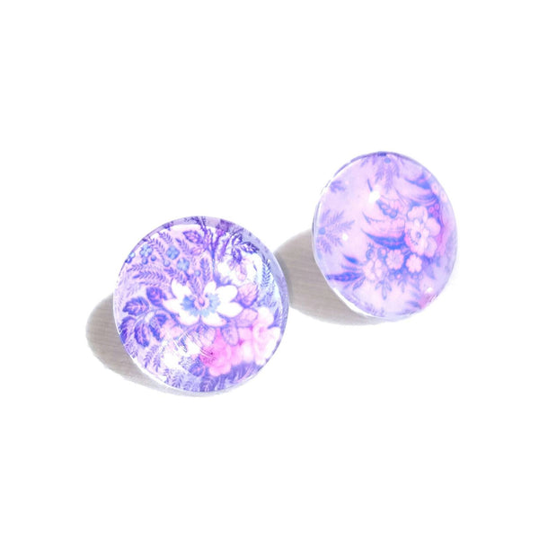 Floral Glass Button Stud Earrings - Earrings - 2