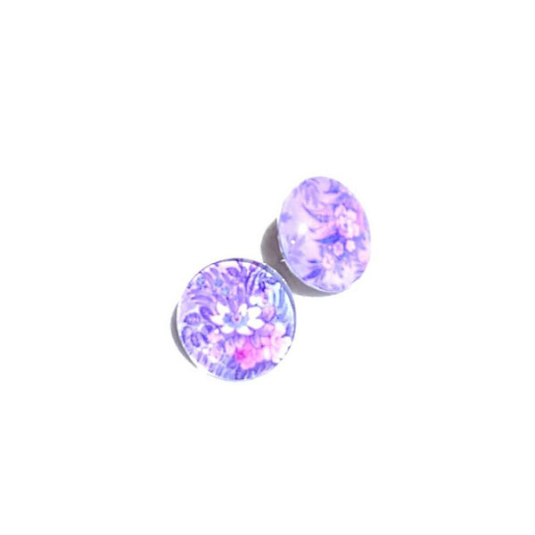 Floral Glass Button Stud Earrings - Earrings - 3