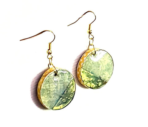 Glossy Wood and Brass Earrings - Earrings - 1