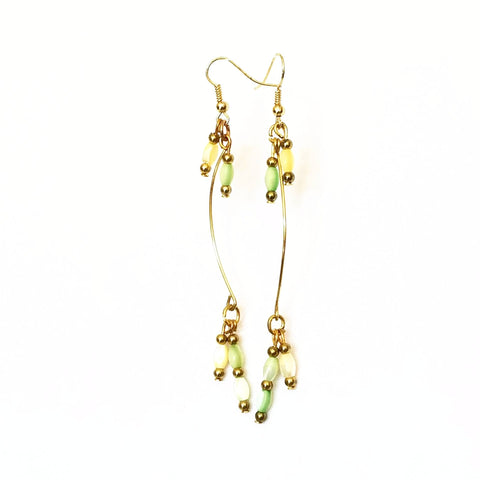Gold and Green Handmade Statement Earrings - Theia Earrings | MysticTrinketShop.com - Earrings - 1