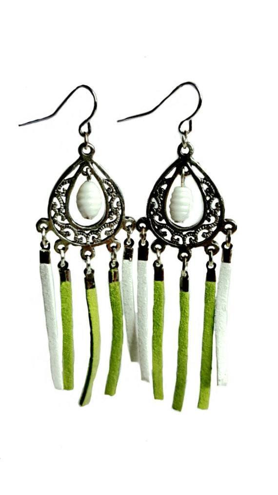 Green and white Chandelier Fringe Earrings - Earrings - 1