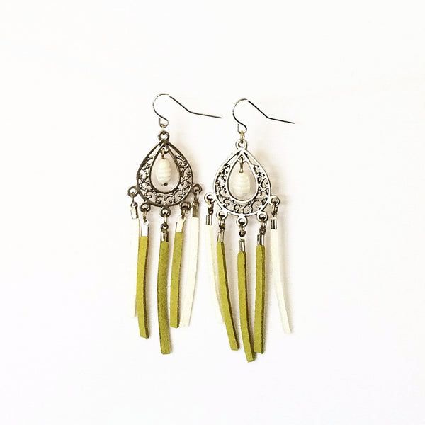 Green and white Chandelier Fringe Earrings - Earrings - 3