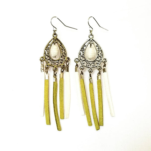 Green and white Chandelier Fringe Earrings - Earrings - 4