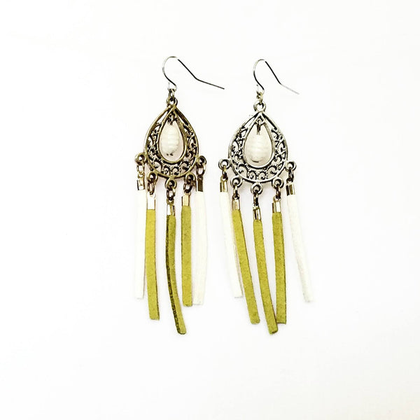 Green and white Chandelier Fringe Earrings - Earrings - 5