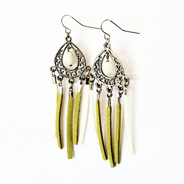 Green and white Chandelier Fringe Earrings - Earrings - 6
