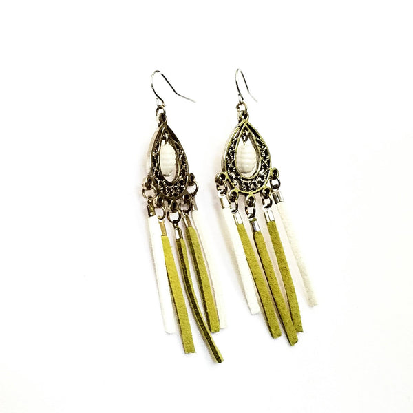 Green and white Chandelier Fringe Earrings - Earrings - 7