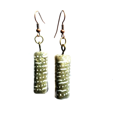 Earrings - Green Morse Code Pattern Earrings