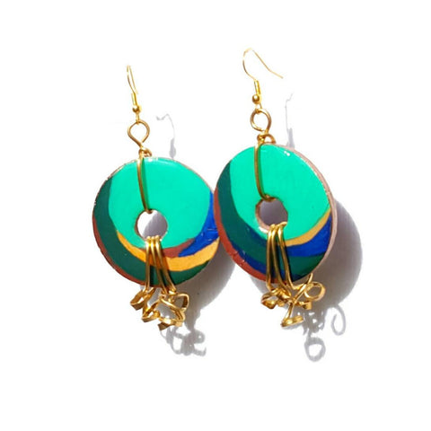 Handcrafted Multicolored Round Dangle Earrings - Earrings - 1