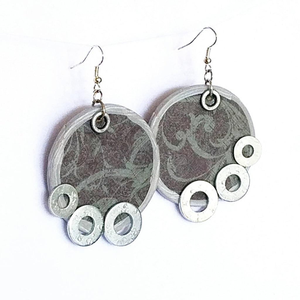 Hardware Circle Earrings in Grey and Silver - Earrings - 1