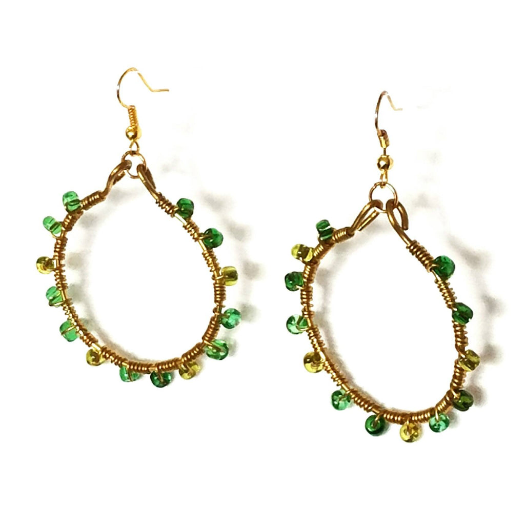 Hoop Earrings-Green and Gold Wire Wrapped – Mystic Trinket Shop