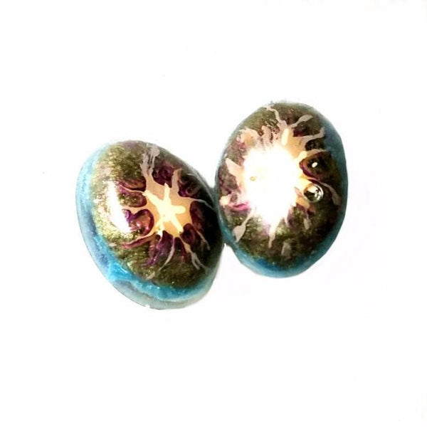Earrings - Painted Splash Oval Button Stud Earrings