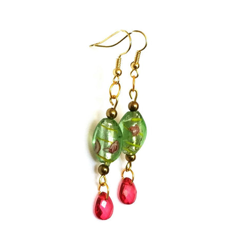 Pink and Green Floral Beaded Earrings - Earrings - 1