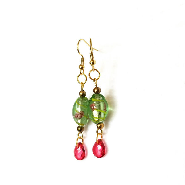 Pink and Green Floral Beaded Earrings - Earrings - 2