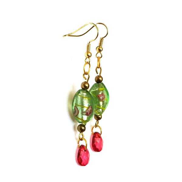 Pink and Green Floral Beaded Earrings - Earrings - 3