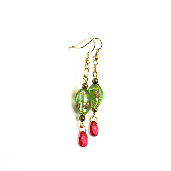Pink and Green Floral Beaded Earrings - Earrings - 4