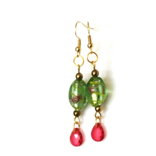 Pink and Green Floral Beaded Earrings - Earrings - 5