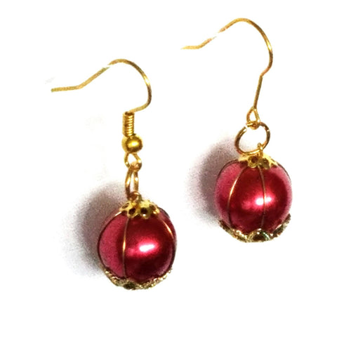 Red and Gold Dangle Earrings - Earrings - 1