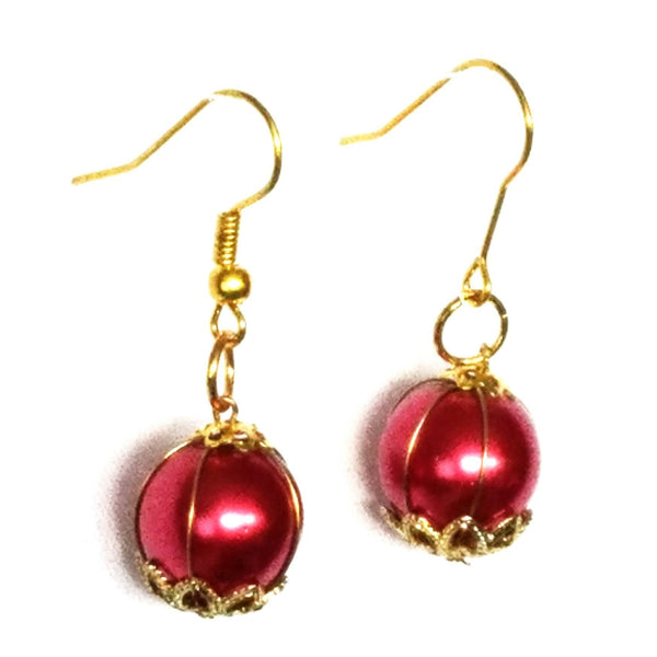 Red and Gold Dangle Earrings - Earrings - 2
