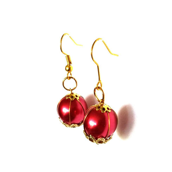 Red and Gold Dangle Earrings - Earrings - 3