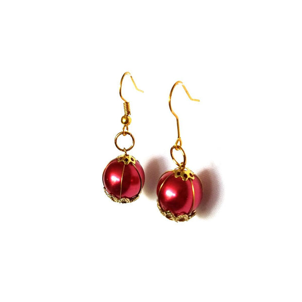Red and Gold Dangle Earrings - Earrings - 4