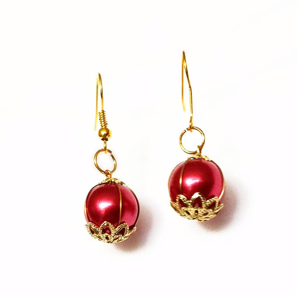 Red and Gold Dangle Earrings - Earrings - 7