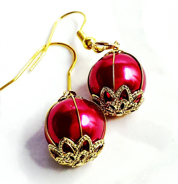 Red and Gold Dangle Earrings - Earrings - 6