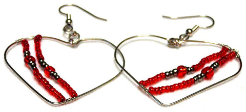 Red and Silver Beaded Heart Earrings - Sweetheart Crush Earrings - Earrings - 1