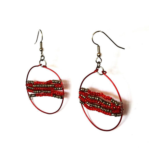 Red beaded hoop earrings - Earrings - 1