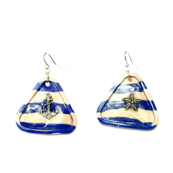 Sailor Stripe Blue and White Triangle Earrings - Earrings - 1