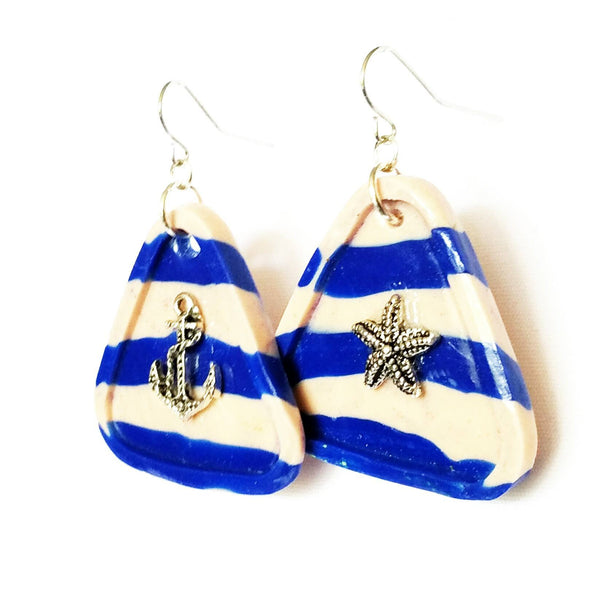 Sailor Stripe Blue and White Triangle Earrings - Earrings - 2