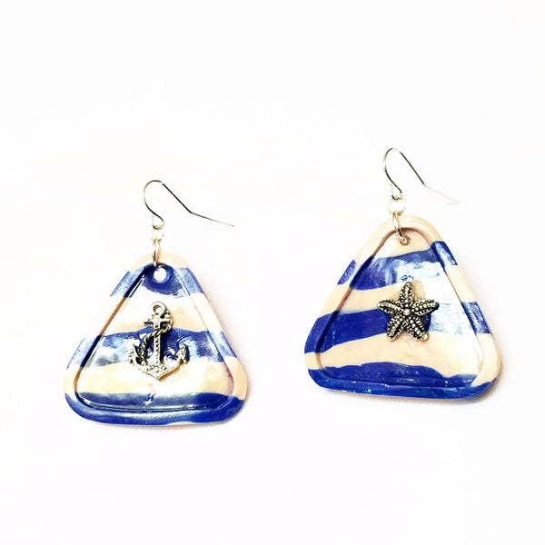 Sailor Stripe Blue and White Triangle Earrings - Earrings - 3