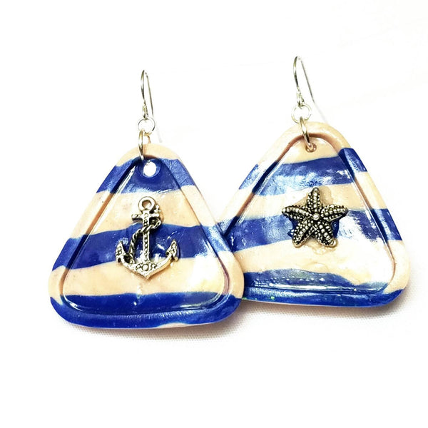 Sailor Stripe Blue and White Triangle Earrings - Earrings - 4