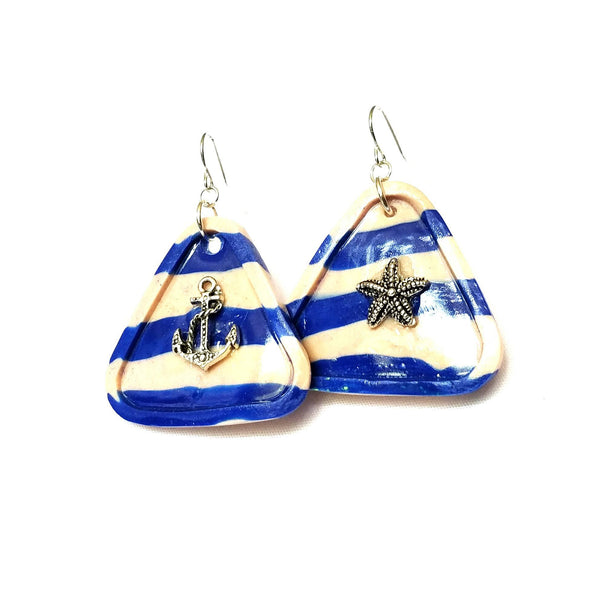 Sailor Stripe Blue and White Triangle Earrings - Earrings - 5