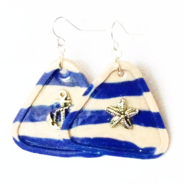 Sailor Stripe Blue and White Triangle Earrings - Earrings - 6
