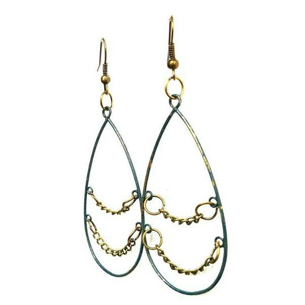 Earrings - Teardrop Dangle Earrings In Hunter Green With Chain