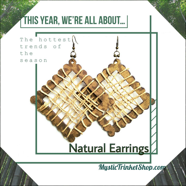 Earrings - Wood And Hemp Woven Earrings