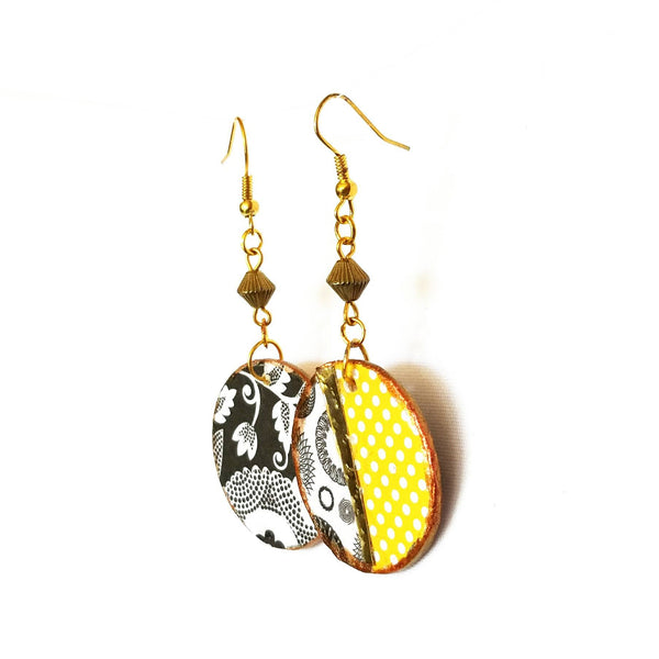 Earrings - Yellow And Gold Pattern Earrings