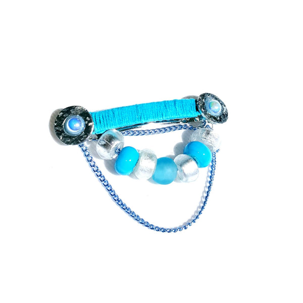 Hairclip in light blue and silver - Hair Accessories - 1