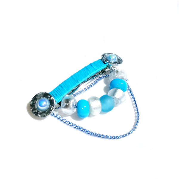 Hairclip in light blue and silver - Hair Accessories - 2
