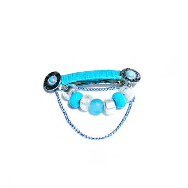 Hairclip in light blue and silver - Hair Accessories - 3
