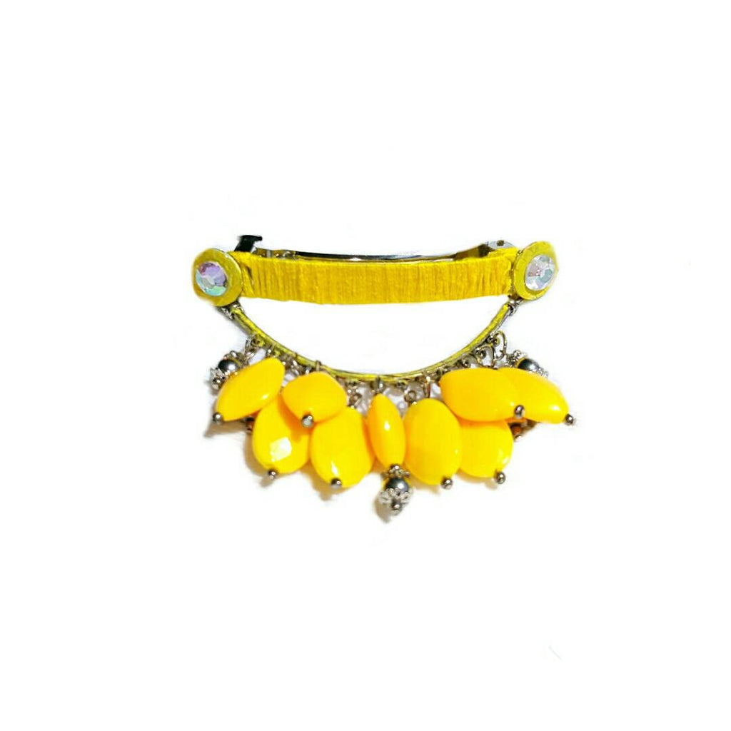 Yellow Beaded Barrette - Hair Accessories - 1