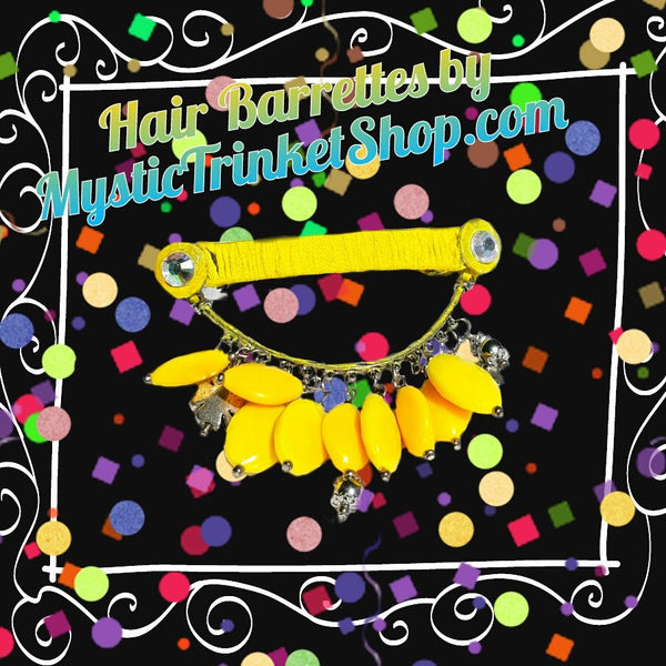Hair Accessories - Yellow Beaded Barrette