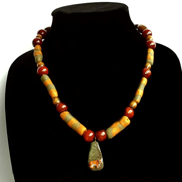 Beaded Tiger Necklace - necklace - 1
