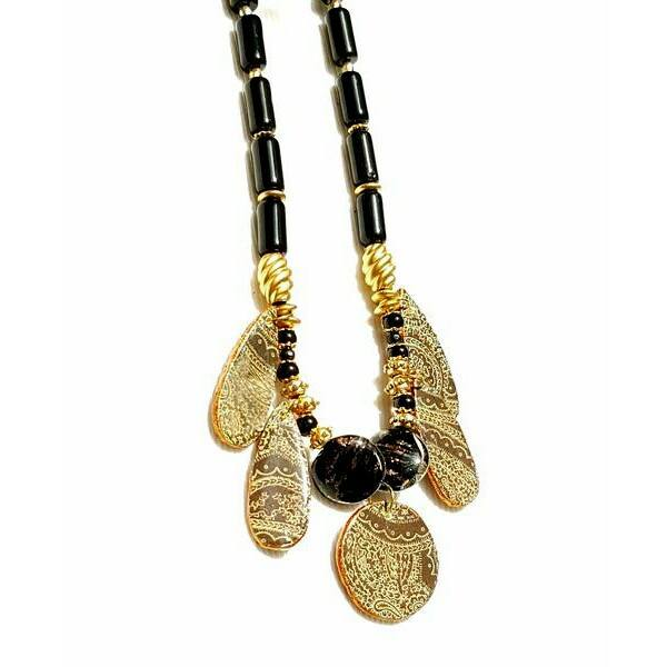 Necklace - Black And Gold Paisley Statement Necklace