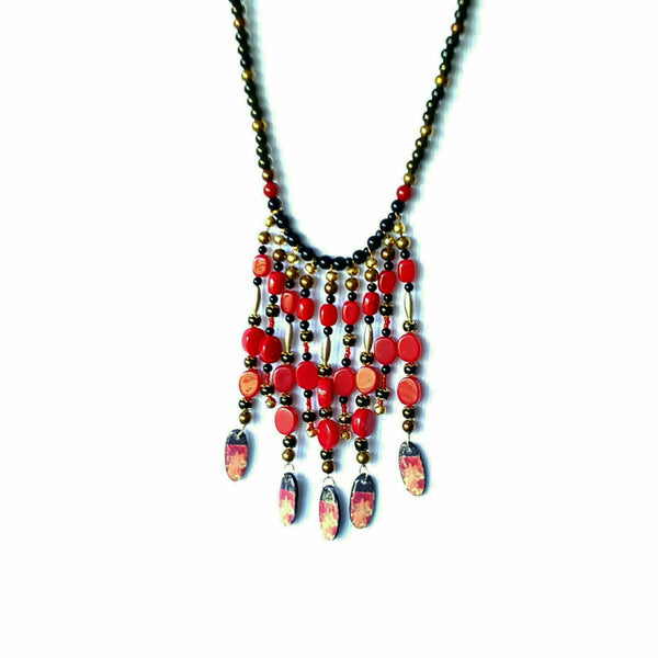 Black and Red Boho Bib Necklace - Necklace - 2